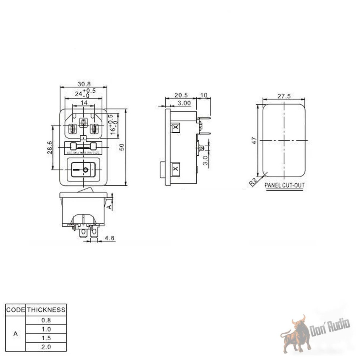Iec Power Jack Chassis Mount With 10a Fuse Holder Switch Dfs French Electrical Plug Wiring Diagram