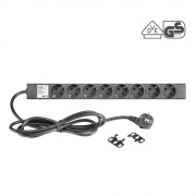 19 Mains Power Strip 8 Sockets, VDE-certified