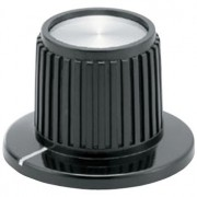Black skirted bakelite knob with metal cap