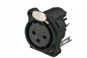 Neutrik NC3FBV2-B receptacle with black metal grounding...