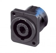 Neutrik NL4MP-M3 Speakon 4 pole chassis connector, black...