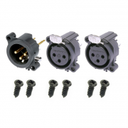 Neutrik XLR GOLD Set 2 x Female, 1 x Male incl. Screws