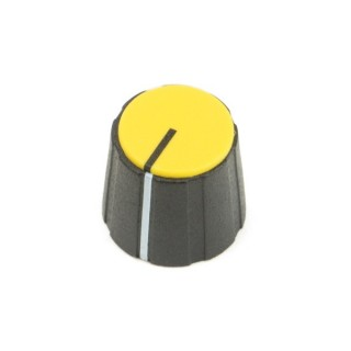 Black British 15mm Collet Knob with line, yellow cap